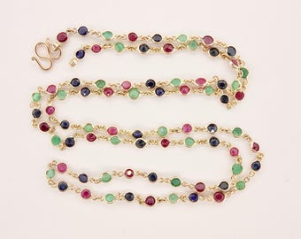 10K Yellow Gold 25 Inch Multi-Stone Ruby, Sapphire and Emerald Necklace (10.4grams)