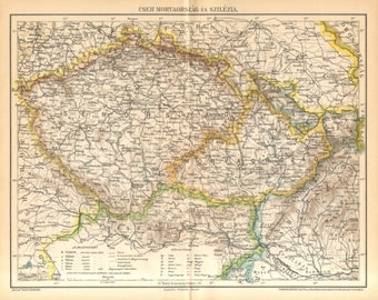 1893 Antique Map of Historical Regions in Central Europe, Bohemia, Moravia and Silesia