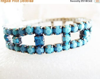 SALE Blue Rhinestone Bracelet Vintage expandable Bracelet Teal blue matte and bright