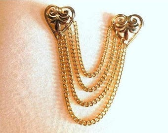Double Brooch Hearts 4 Chains DUET Vintage Victorian Revival Fleur de Lis Sweater guard Bride