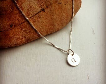 Silver Letter Q Necklace Stamped Disc Mothers Necklace