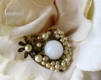 ON SALE Fabulous Art Nouvea Pearl & Milk Glass Floral Heart Brooch