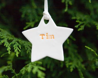 Personalised Christmas Decoration One Personalised Star Ceramic