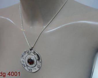 Hadar Pendant ,  handcrafted A huge round Sterling Silver garnet ,chain,  Pendent (dg 4001