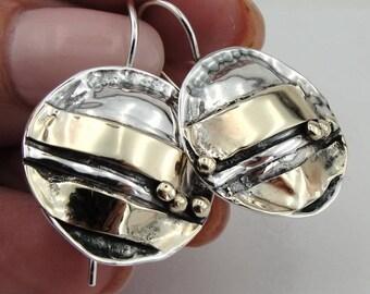 New israel design 9k yellow Gold 925 sterling Silver  Earrings (216g