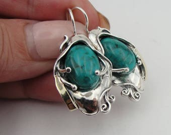 Sterling Silver 925 and 9K Yellow Gold earrings , Handcrafted oval earrings,turquoise stone earrings,gift , christmas (ms 328e)