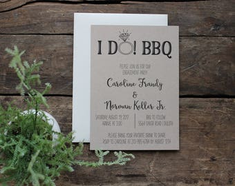 I Do BBQ Engagement Party Invitation, Rustic Wedding Invitation, Engaged, Recycled Paper