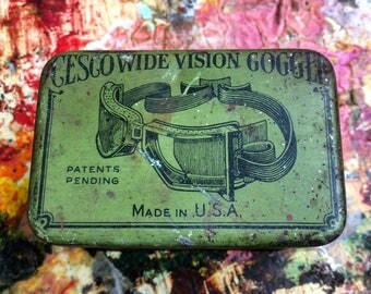 Safety First Vintage Green Gesco Vision Goggle Tin