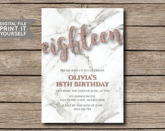 DIY Rose Gold Glitter & Marble Birthday Party Invitation, Invite, 18th, 21st, 30th, 40th, 50th, Milestone - DIGITAL FILE - Print it yourself