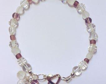 Purple & Clear Glass Bead Bracelet