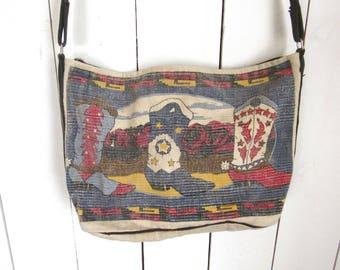 Southwest Shoulder Bag 90s Cowboy Boot Print Vintage Cotton Canvas Tote Bag Red Blue White