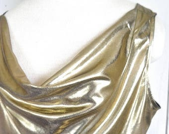 34% Off Sale - Gold Metallic Tank Top - 1980s Draped Cowl Neck Blouse - Vintage Club Festival Top PG Collections by Ginger Bort - Medium M /