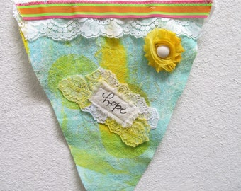 Super Cute Mixed Media Fabric PRAYER FLAG/Wall Hanging4