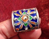 Silver Ring with Colorful Enamel, US size 10 1/2, S Morocco