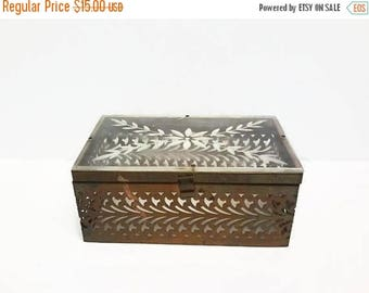 40% OFF NOW Vintage Pierced Brass & Lucite Box Purse Body, Lucite and Metal Chest, Jewelry Box, Keepsake Box, Carved Clear Lucite and Metal