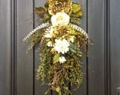 RESERVED LISTING Fall Wreath-Autumn Wreath-Ivory and Green Peony-Teardrop Door- Twig Swag -Vertical Door Decor.. Use all Year Round Wispy