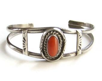 Vintage Native American Red Coral Cuff Bracelet Sterling Silver Signed HJ