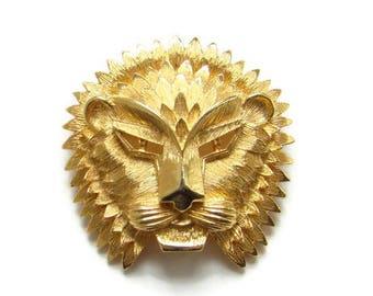 Vintage Vendome Coro Regal Lion Mask Brooch Pin Goldtone Signed