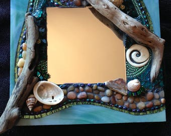 Mosaic Mirror with shells and driftwood