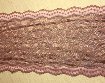 Dusty rose color - Stretch Width beautiful shimmering Lace trim to altered your couture designs-