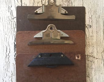 Trio of Vintage Clipboards - Standard Size - Retro Office or Great for Art Display