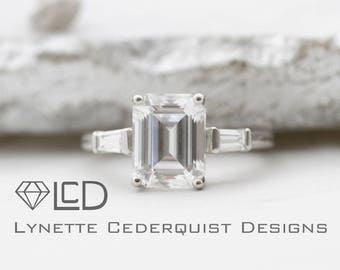 2.25 carat Emerald Cut Forever One Moissanite 2 tapered baguettes  Classic 3 stone Engagement Ring LCDSS06