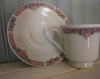 Pale Pink Floral Tea Cup and Saucer