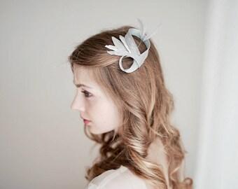 Silver Fascinator, Bridal Hair Pin, Silver Hair Pin, Wedding Hair Pin, Silver Hair Accessories, Silver Metallic