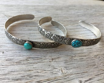 Made to Order - Sterling Silver Floral Engraved Turquoise Cowgirl Cuff Bracelet