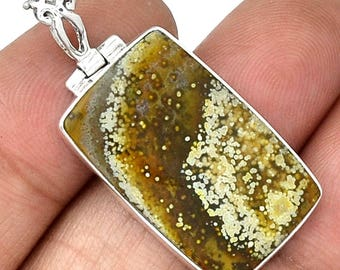 "SALE! Ocean Jasper Sterling Silver Pendant. 1 1/2"" long, total. 3050"