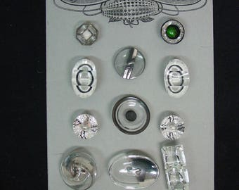 Vintage Buttons 12 Crystal Clear Glass Variety Shapes Sizes Beautiful