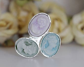 Vintage Cameo Ring, Cameo Ring, Sterling Silver Ring, Antique Style Ring, Mother's Ring, Pastel Ring, Blue, Purple Green Emerald Cameo Ring