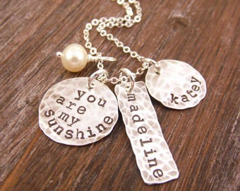You Are My Sunshine Necklace Silver Hand Stamped Disc Necklace with Two Names