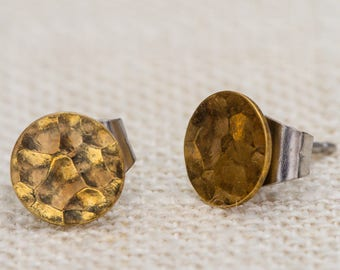 Textured Gold Circle Earrings Tiny Vintage Studs | Geometric Simple Minimalist Modern Dainty Pierced Earings 7TU