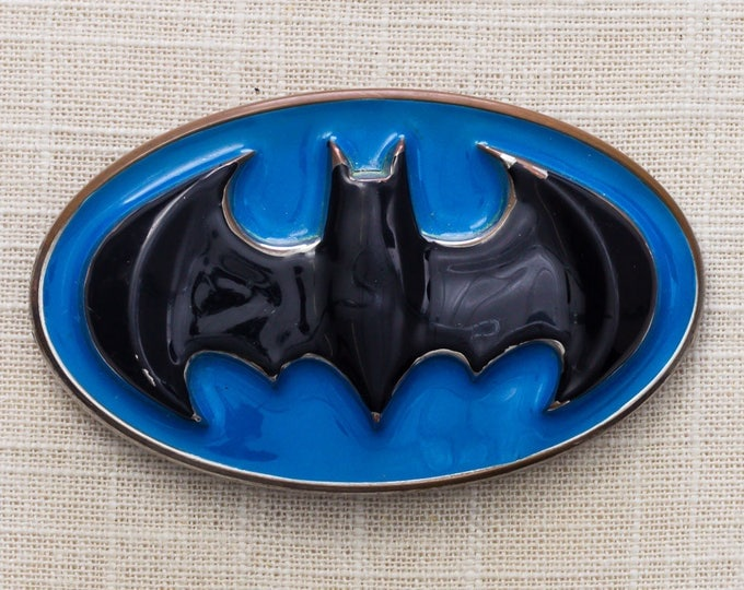 Batman Belt Buckle Enamel Blue Black Silver Oval DC Comics 1990s Vintage Belt Buckle 7MM