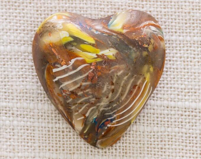 Neutral Toned Heart Brooch Vintage Bronze Brown Yellow Plastic Broach Vtg Pin 7JJ 3