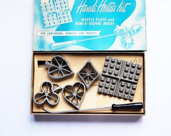 Vintage Rosette Iron - Handi Hostess Kit - Waffle Plate - Card Suit Mold - Vintage Kitchen