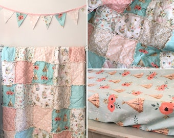 Crib Rag Quilt Baby Girl Crib Bedding Boho Nursery Gold Pink Blue Nursery