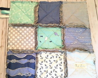 Baby Boy Gift Rag Quilt Lovey Security Blanket