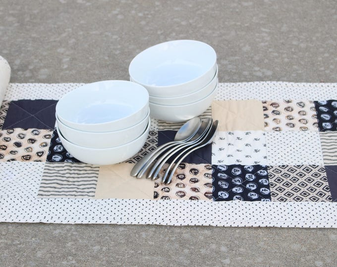 Quilted Black White Tan Table Runner
