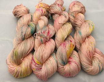 Carrie Cotton DK, DK, Pima Cotton, 100 grams, Hand Dyed Yarn, double knitting, Peach Confetti