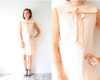 40% OFF CHRISTMAS in JULY Vintage 50's 60's pink lace dress // boho peach dress // lace mini dress // party dress // prom formal dress // Sm