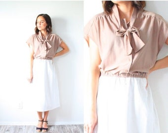 30% OFF SALE Vintage tan short sleeve dress // Medium/Large 1950's 1960's dress // bow neck short sleeve dress // color block dress // boho