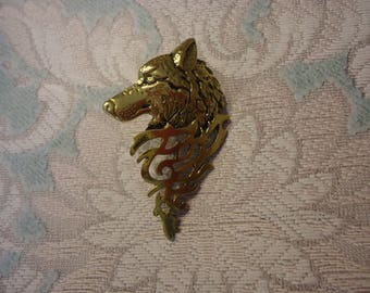 Gold Tone Wolf Brooch with Celtic Design, Tac Pin