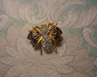 Vintage Bee Brooch, Gold Tone w/ Green, Red, and Black Enamel and Rhinestone Accents