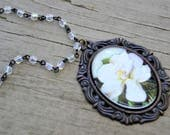 HOLD for MICHELE Black Frame White Flower Magnolia Long Necklace 38 Inches Floral Necklace
