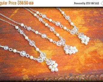 SUMMER SALE Set of 3 Vintage Couture Bridesmaids Necklaces Vintage Art Deco Rock Crystals and Vintage Ivory Glass Pearls