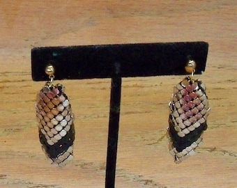 Earrings Gold Silver and Black Mesh Earwires Vintage Unsigned Beauties Evening Opera Prom Gift for Her