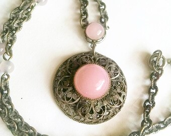 Necklace Pink Moonstones Bronze Filigree Setting Chain Vintage Jewelry Jewellery Accessories Victorian Edwardian Gift Guide Women