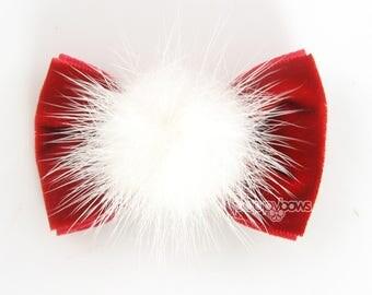 SHIPS 12/11 Santa Velvet Hair Bow, velvet hair bow, mink fluff red velvet hair bow, baby Christmas hair bow, santa hair clips, girls cute